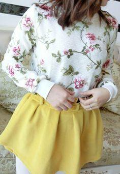 Floral Print Short Pullover Sweatshirt Crew Neck Tops