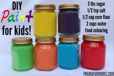 Homemade Paint----You will LOVE this recipe, it's simple and FUN to make (like a mini science experiment), very low cost and it is really wonderful to paint with! Kids Crafts, Toddler Crafts, Projects For Kids, Diy For Kids, Home Made Paint For Kids, Diy Kids Paint, Craft Kids, Craft Activities, Toddler Activities
