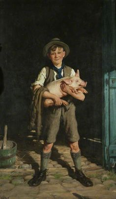 A Boy with a Pig, 1934 by Frederick William Elwell (English 1870-1958)