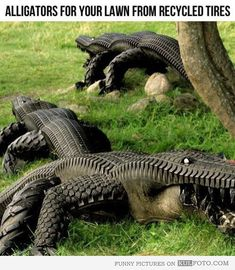 Alligators from recycled tires - Cool art -- alligators and crocodiles as lawn sculptures made from old recycled tires.