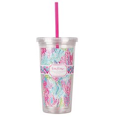 Lilly Pulitzer Acrylic Tumbler with Straw - Lets Cha Cha