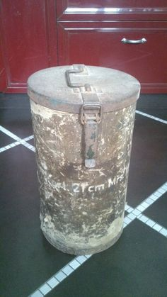 ORIGINAL WW2 WWII GERMAN ARMY CONTAINER CAN ARTILLERY SHELL 21 cm MRS 18