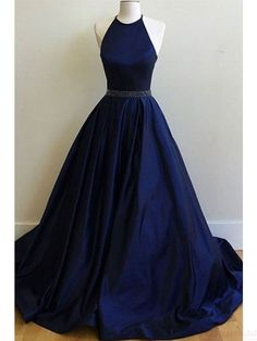 Halter Royal Blue Beading Waist Long Ball Gown Prom Dresses Evening Dresses #SIMIBridal #promdresses