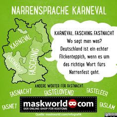 Narrensprache - Infografik von maskworld.com #infografik #funfacts #karneval #fastnacht #fassenacht #fasching #rosenmontag #wiesagtmannoch