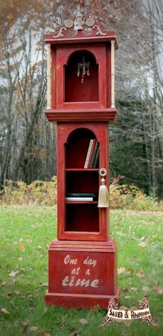 grandfather clock shelf painted furniture by SavedandRedeemed