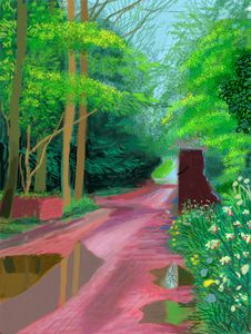 """""""The Arrival of Spring in Woldgate, East Yorkshire in 2011 (twenty eleven)-11 May"""" iPad drawing printed on paper Edition of 25, 55 x 41 1/2in. David Hockney"""