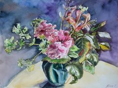 Original watercolor hand painting Bouquet of begonias in vase, floral fine art, pink flowers, wall art, artwork, apartmant decor, art print