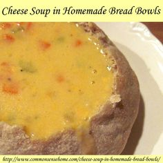 Wisconsin Cheese Soup in Homemade Bread Bowls - how to make cheese soup at home with easy homemade bread bowls.
