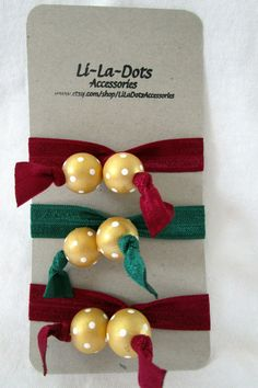 Fold over elastic hair ties with hand painted wooden beads