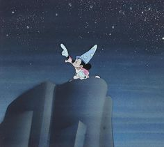 """Walt Disney Studios, 1940. Gouache on trimmed celluloid, applied to a Courvoisier Galleries airbrushed background, matted and framed. This cel is from the """"Sorcerer's Apprentice"""" section of the film, in which Mickey Mouse falls asleep and dreams of how his magical powers will allow him to command the forces of the Universe."""