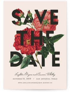 This Bold And Daring Save The Date Brings Out The Striking Side Of Soft Florals. Botanical, Pink Save The Dates From Minted By Independent Artist Fig And Cotton. Pink Save The Dates, Unique Save The Dates, Wedding Save The Dates, Save The Date Magnets, Save The Date Postcards, Save The Date Cards, Save The Date Designs, Wedding Designs, Fig