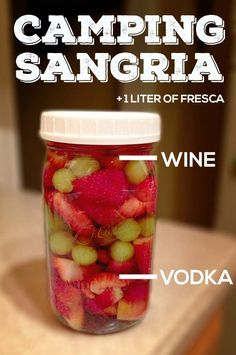 Camping sangria as seen on Buzzfeed! The delicious, portable camping beverage. Suit your own taste buds and try different fruits, wine and vodka flavors.