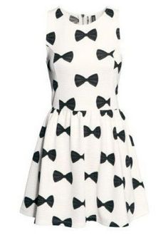 White Sleeveless Bow Print Pleated Dress pictures