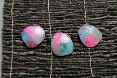 labradorite effect rosa collana polymer clay gioielli necklace