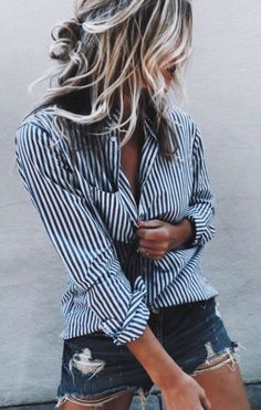 So Fancy Striped Shirt + Ripped Denim Short Sporty Outfits, Summer Outfits, Cute Outfits, Fashion Outfits, Fashion Ideas, Women's Fashion, Ripped Denim, Denim Shorts, December Outfits