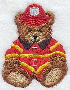Firefighter Teddy Bear design (Q1171) from www.Emblibrary.com