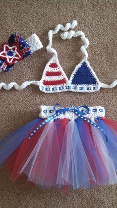 Miss+USA+Crochet+Baby+Bikini+Set+12+mos2T+by+DesignsByJennyWren,+$50.00