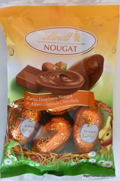 """Decorate your colorful Easter basket with the delicious chocolate specialties from Lindt. With these delicate and fine """"Lindt Nougat Eier - Praline Eggs"""" Easter becomes a special treat.Store cool and dry. Milka Chocolate, Chocolate Santa, Chocolate Pastry, Easter Chocolate, Chocolate Hazelnut, Chocolate Truffles, Hot Chocolate, Easter Colors, Easter Candy"""
