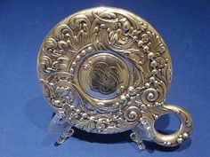 Tiffany Co Sterling Silver Repousse Hand Mirror