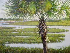 As the eternal symbol of our great state, this palmetto tree stands watch along the South Carolina coast as many others have for hundreds of years. Their strength comes from their flexibility and capacity to bend with the wind. South Carolina Coast, Carolina Girls, Mount Pleasant South Carolina, Palmetto Tree, Isle Of Palms, Pawleys Island, Beach Artwork, Beautiful Places, Scenery