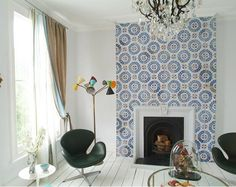 Love Love Love, blue and white mosaic cement tile by Popham Design Eye Candy For Your Home: Handmade Cement Tiles — Inspiration Gallery Fireplace Tile Surround, Fireplace Wall, Fireplace Surrounds, Fireplace Design, Bedroom Fireplace, Fireplace Mantels, Fireplaces, Chimney Breast, Moroccan Tiles