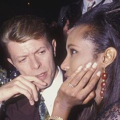 "David Bowie & Iman, November 29th 1990. At the ""7th On Sale"" AIDS research Benefit. Photo by Ron Galella."