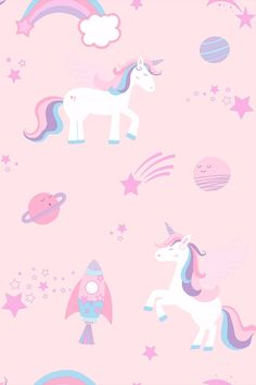Unicorns Mermaids Stars Animals Metallic Polka Dots Glitter Girls Wallpaper