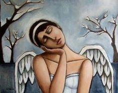 Snow Angel by Jennifer Yoswa Seraph Angel, Angel Drawing, Angel Images, I Believe In Angels, Angels Among Us, Oil Painters, Angel Eyes, Angel Art, Folk Art