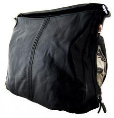 Větší kabelka na rameno s bočními kapsami D1068 černá - Kliknutím zobrazíte detail obrázku.