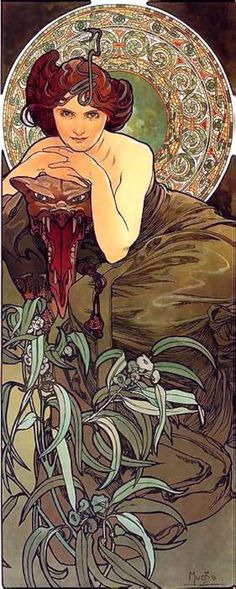 """Emerald"" ~ Alphonse Mucha ~ Click through the large version for a full-screen view (with a black background in Firefox). Set your computer for full-screen. ~ From the ""Precious Stones"" series. ~ Miks' Pics ""Alphonse Mucha l"" board @ http://www.pinterest.com/msmgish/alphonse-mucha-l/"