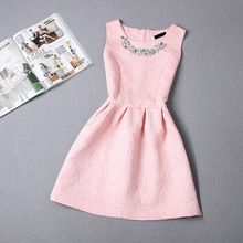 New Cute Girl A-line Dress sleeveless Princess Dresses Teenagers Candy Colors Birthday party Slim Formal Clothes Big Size(China (Mainland))