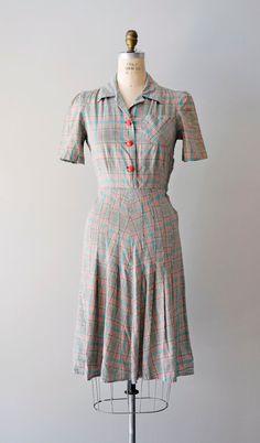 1940s dress / 40s plaid dress / Hideho dress by DearGolden on Etsy, $124.00