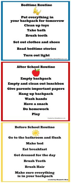 Back to School Chore Charts                                                                                                                                                      More