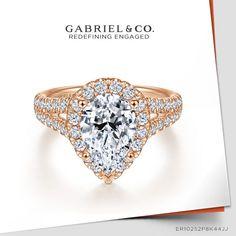 14K Rose Gold Pear Shape Halo Diamond Engagement Ring ER10252P8K44JJ#GabrielNY #UniqueJewelry #EngagementRings #RoseGoldEngagementRings #PearShapedEngagementRing #HaloEngagementRings Pear Shaped Engagement Rings, Halo Diamond Engagement Ring, Gabriel Jewelry, Metal Necklaces, Birthstone Jewelry, Wedding Men, Gold Rings, Fine Jewelry, York