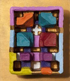 Andrea Zucchi, Imballaggio 028, 2012, olio e acrilico su cartone sagomato, su legno, cm 30x26.