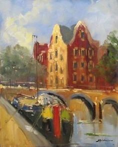Canal in Amsterdam, J. Kelderman,  dutch painter (1914-1990)