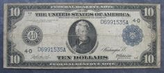 1914 Series US $10 Federal Reserve Note CLEVELAND; Note; Burke-McAdoo; FR #916