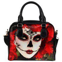 Ewa Mexican Dia De Los Muertos Sugar Skull PU Leather Shoulder Bag Handbag