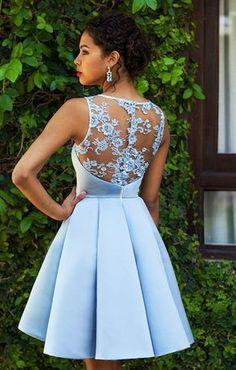 Lace Homecoming Dress A-line Scoop Satin Sexy Short Prom Dress Party Dress  JK468. Aranyos RuhákAlkalmi ... b3eab14fbb