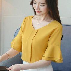 Women Tops And Blouses 2018 Summer Chiffon Blouse Short Flare Sleeve Fashion Ladies Shirts Casual Blusa Feminina Tops Lady Shirt