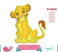 Applique Simba. The Lion King. Machine Embroidery Applique Design. Instant Digital Download (16310) by EmbryLab on Etsy