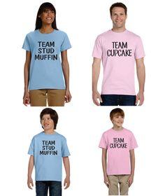Gender Reveal T-shirt Ideas Set Of 4 Shirts Team Stud Muffin