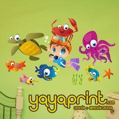 Buceo de Vinilo decorativo pared con tortuga, peces, pulpo, estrella de mar... y niño buceando.    Puede elegirse con los personajes mirando hacia ...