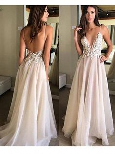 Charming A Line V Neck Spaghetti Straps Backless Tulle Lace Wedding Dresses with Applique Beach Wedding Dresses White Lace Wedding Dress, Wedding Dress With Pockets, Long Wedding Dresses, Perfect Wedding Dress, Boho Wedding Dress, Wedding Gowns, Lace Dress, Bridesmaid Dresses, Formal Dresses