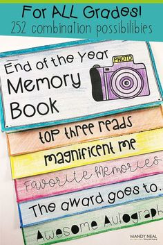 End of the Year Memory Book An end of the year memory flip book created for all grade levels. There are a total of 252 combinations and endless possibilities. This is a perfect end of the year activity! End Of Year Activities, Class Activities, Classroom Activities, Classroom Organization, Classroom Ideas, Class Games, Library Activities, Classroom Management, Organizing