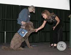 Jan Scully with Victim/Witness Program Director, Kerry Martin and Victim/Witness comfort dog, Reggie