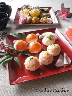 海老とサーモンの手まり寿司♪ レシピブログ