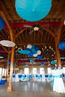 Shades of blue - Parasols & Lanterns--The Hilton Garden Pier House Kitty Hawk NC