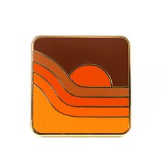 """You'll be feeling groovy tonight with this 70's Sunset Pin. Add it to your lapel for the perfect retro vibe. • 1"""" Hard Enamel Pin • Design by Circa 78 Designs"""