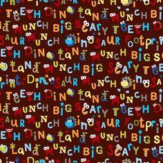 "Dino Land Words 44"" Cotton Fabric Print"
